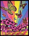 Tie Dye Tapestries - beautiful colors in this butterflies and magic mushrooms tapestry glow under any blacklight
