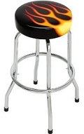 On The Edge Flames Single Foot Ring Barstool without Swivel is designed to jazz up your game room or garage with quality, style, and comfort. It is made from tubular steel frame and features non-skid foot pads.