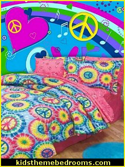 Psychedelic Love and Peace Graffiti mural-tie dye bedding