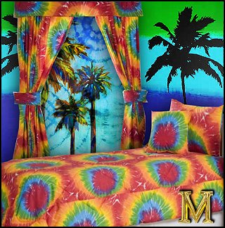 Bright, bubbly and colorful, the Tie Dye bedding collection by Victor Mill Bedding is guaranteed to liven up any bedroom decor. The Victor Mill Tie Dye bedding collection features a rainbow tie-dye motif in orange, green, purple, yellow, red and blue, accented with solid white. The Victor Mill Tie Dye bedding collection has everything you need to bring this beautiful look to your bedroom decor,