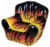 High Back Blow Up Flame Inflatable Chair. Inflatable furniture is a great way to make any space look whimsical and full of life. These fun chairs blow up to be a really cool decor statement and best of all they are comfortable. These wacky inflatable chairs will bring years of use and fun to any room in your home. These chairs are great for company, if you do not have enough seating you can easily blow up a chair or two in minutes. They will be your favorite seats in the house. The chairs are perfect for children's bedrooms, play areas, living rooms, inside or in the out doors!